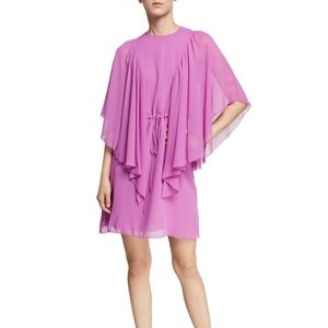 See by Chloe Ruffled Tie-Waist Cape-Sleeve Dress